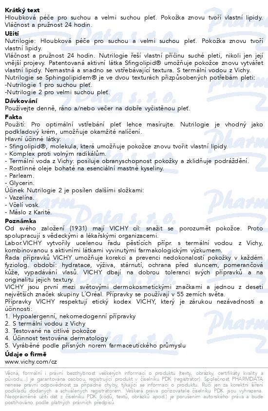 VICHY NUTRILOGIE 2 Krém pro normální pleť 50ml