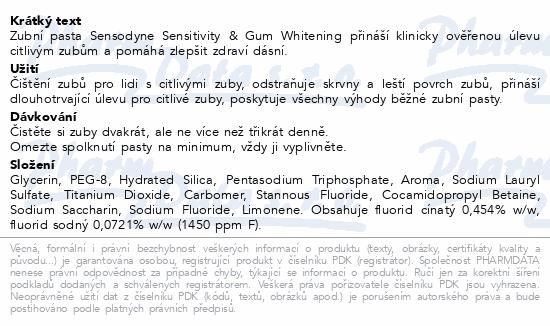Sensodyne Sensitivity&Gum Whitening ZP 75ml