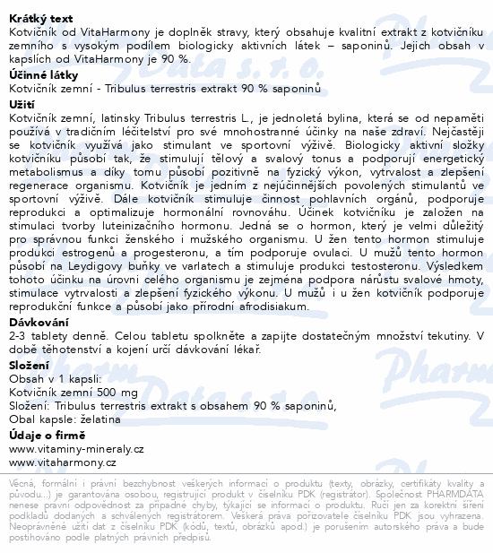 VitaHarmony Kotvičník 500 mg 90% saponinů cps. 80