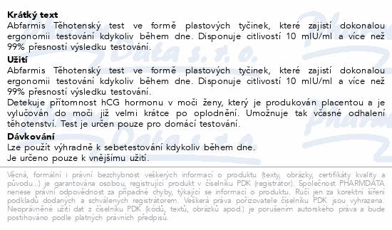 Abfarmis Těhotenský test 10mIU/ml tyčinka 2ks